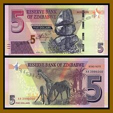 Zimbabwe 5 Dollars, 2016/2017 P-New Bond Note New Design Unc