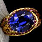 _LDN_ Sublime Bague Saphirs Kashmir/Cachemire bleu 12x10 et Rubis_Argent 925_T53