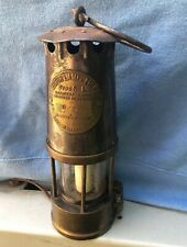 """New listing Antique 9"""" Miners Lamp Lantern Protector Lighting Eccles Brass Glass Oil N70"""