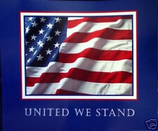 """United We Stand"" 9/11 Usa Flag 911 Poster 13""x11"" Mint"