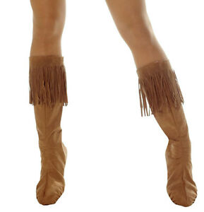 INDIAN NATIVE AMERICAN POCAHONTAS ADULT COSTUME FRINGE BOOT TOPS COVERS SPATS