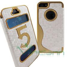 Custodia S-View Chrome per Apple iPhone 5s 5 BIANCO ORO chiamante cover