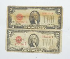 Lot (2) Red Seal $2.00 Series E & F US 1928 Notes - Currency Collection *682