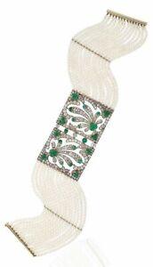 Fine Jewelry Edwardian Style Green And White CZ Tiny Pearl Womens Bracelet