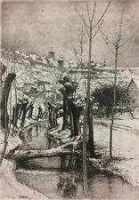 Paul Geissler German Art Etching 1920s Pencil Signed Weiden am Bach Listed 03631