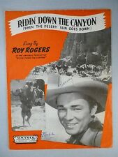 RIDIN' DOWN THE CANYON Movie Theme Sheet Music ROY ROGERS 1936 w Hawaiian Guitar