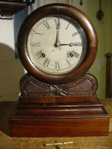 """ANTIQUE VERY RARE EN WELCH 1870 """"GRECIAN"""" 8DAY ROSEWOOD. PARLOR OR SHELF CLOCK"""