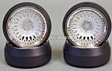 RC Car 1/10 DRIFT WHEELS Package 0 Degree 9MM Offset SILVER MESH W/ CHROME Lip