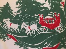Vtg 60x76 Oval Cotton Christmas Tablecloth Dickens Scene Horse & Carriage
