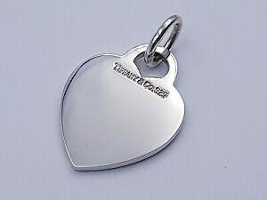 "Tiffany & Co Plain Engravable Sterling Silver Heart Charm 1"""