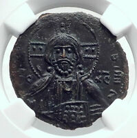 JESUS CHRIST Class A3 Anonymous Ancient 1020AD Byzantine Follis Coin NGC i80781