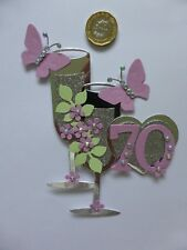 3 Large Ladies 60 70 & 80th pink pearl Champagne Glass Birthday Card Toppers