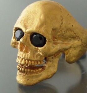 Golden Bronze Skull Ring Masonic skull ring Black Spinel Gem eyes handmade
