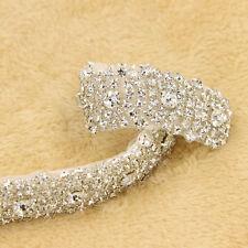 1yd Crystal Rhinestone Silver Appliques Sewing Trim Wedding Dress Sash Trimming