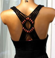 Esprit EDC Sommer Maxi Kleid schwarz M Holz Perlen top zustand bodenlang top