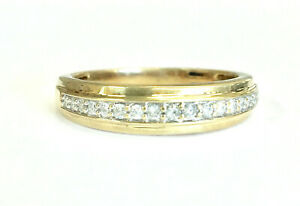 10K Yellow Gold 5.3mm Wide 0.20 CTW Diamond Wedding Band 3.5 Grams, Size 10