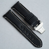 Carbon Leather Watch Strap Band 24mm for Panerai with Genuine Panerai Clasp