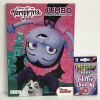 2 Piece Gift Set Disney Vampirina Jumbo Coloring Activity Book + Glitter Crayons