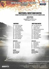 Official Football Teamsheet>WATFORD v WEST HAM UNITED Sept 2008 Carling Cup