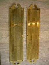 Antique Brass Door Finger Plate Pair of Original Victorian Salvaged Reclaimed