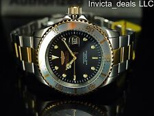 Invicta Men 43mm Pro Diver Japanese Quartz Black MOP Dial Gold IP 2Tone SS Watch