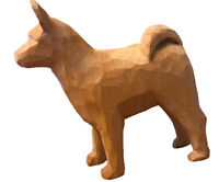Hand Carved Wood Dog Sculpture Akita Cabin Unpainted Snow Dog Basenji Vintage