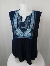 Lucky Brand Plus Size Tribal Embroidered Tank Top 2X American Navy Blue #4988