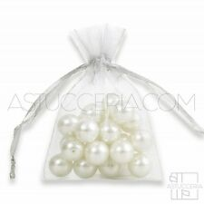 100pz Sacchetti ORGANZA Bianco - 5 Misure - Regalo Bomboniere Gioielli Confetti