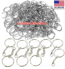 25 PCS Keyring Blanks Silver Tone Key Chains Findings Split Rings 4 Link