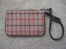EUC Coach Red and Brown Hamptons Tattersall Plaid Wool & Leather Trim Wristlet