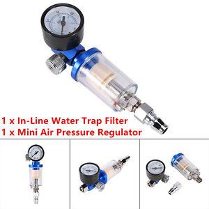 Spray Gun & In-Line Water Trap Filter Tool Scratch Air Pressure Regulator Gauge