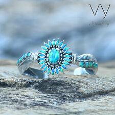 Handmade 925 Sterling Silver Cuff Bracelet Craft Jewelry Genuine Blue Opal Stone