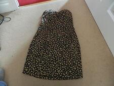 Ladies AX PARIS black & gold patterned strapless short dress size 12 (10-12)