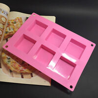 6Square Silicone Soap Mold Cake Muffin Chocolate Baking Pan Mold ice tool Tray b