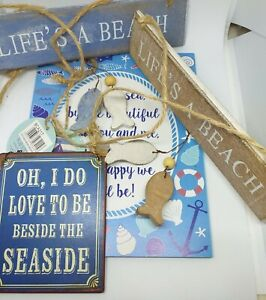 🏝 BNWT SASS & BELLE COLLECTION OF 4 HANGING NAUTICAL / SEA / BEACH / FISH SIGNS