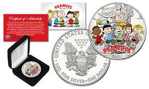 PEANUTS & GANG 1 oz PURE .999 Silver American U.S. Silver Eagle with Box & COA