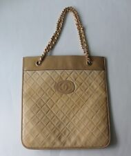 Auth CHANEL Beige Quilted Leather CC Logo Flat Bag Chain Strap