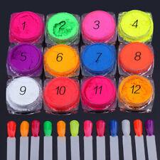 12 Pots Set Neon Pigment Powder Dust For Nail Art Decoration Manicure, UK Seller