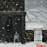 James Downie Original Oil Painting Sheltering From The Snow On A Dark Winter Day