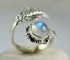 Rainbow Moonstone Ring 925 Solid Sterling Silver Handmade Jewelry Size 3-13 US