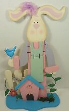 Easter Home Decor Wood Rabbit Spring Blue Bird House Wooden 14""