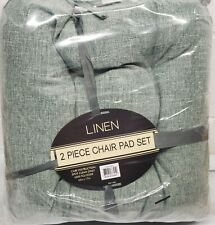 """2 Thick Reversible Linen Cushion Chair Pads with ties (16""""x17"""") Greenish Color"""
