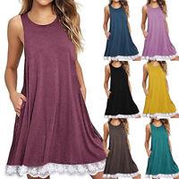 Women O-Neck Casual Lace Sleeveless Dress Cotton Party A-Line Loose Mini Dress