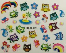 Nail Art 3D Decal Stickers Owls Rainbow Waves Butterflies Flowers QJ-3D-891