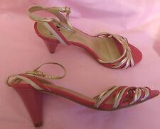 Per Una UK5.5 EU39 US7.5 pink/gold/cream strappy sandals - little wear