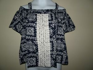 NWT JUSTICE SIZE 10 SMOCKED OFF THE SHOULDER TOP PEASANT COLD SHOULDER NAVY BLUE