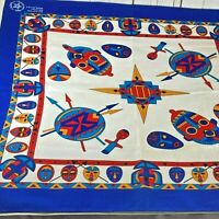 Vintage Cotton Bandana Scarf Tribe Native American Motifs Made in USA NOS OOP