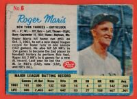 1962 Post #6A Roger Maris VG MARKED WRINKLE New York Yankees FREE SHIPPING