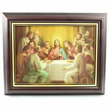 More details for last supper wooden framed picture 31x25cm wood frame print jesus passover meal