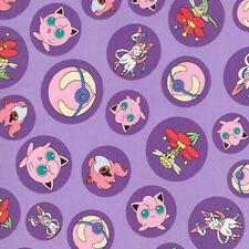 Robert Kaufman Fabric Pokemon Characters In Circles Purple PER METRE Nintendo Li